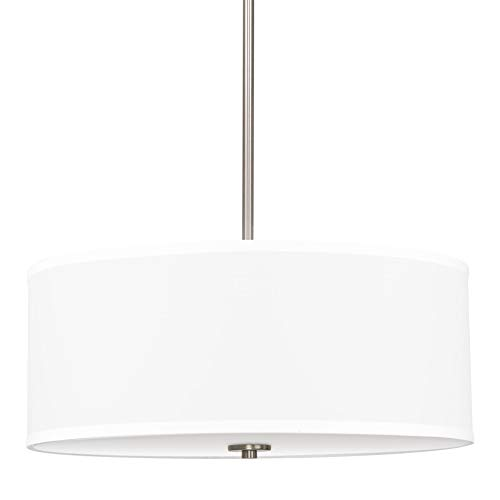 Kira Home Nolan 18' Classic 3-Light Drum Pendant Chandelier, White Fabric Shade + Round Glass Diffuser, Adjustable Height, Brushed Nickel Finish