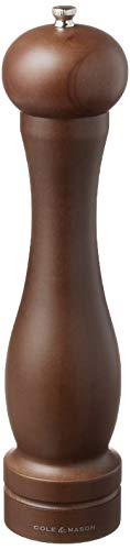COLE & MASON Capstan Wood Pepper Grinder - Wooden Mill Includes Precision Mechanism, 12.5 inch