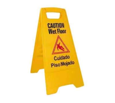 Winco WCS-25 Wet Floor Caution Sign, 12 x 25', Yellow