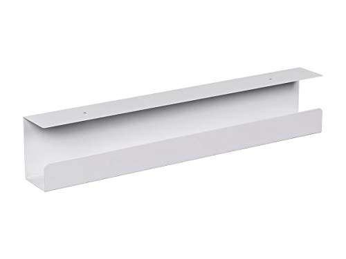 Monoprice Under Desk Cable Tray - Steel with Power Supply and Wire Management - Workstream Collection White