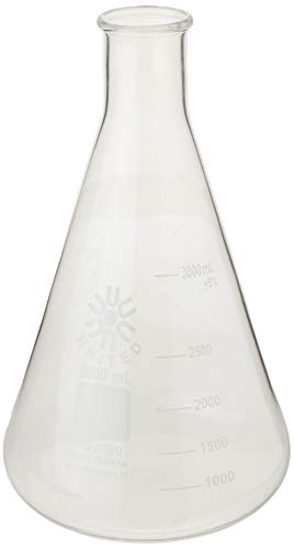 United Scientific FG4980-3000 Borosilicate Glass Narrow Mouth Erlenmeyer Flask, 3000ml Capacity