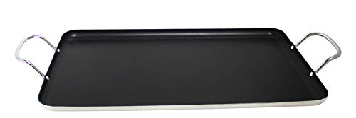 Imusa USA Nonstick Stovetop Double Burner Griddle with Metal Handles, 17-Inch, Black