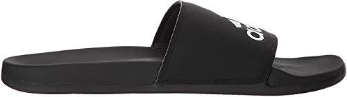 adidas Men's Adilette Comfort Slide Sandal, Black/Black/White, 11