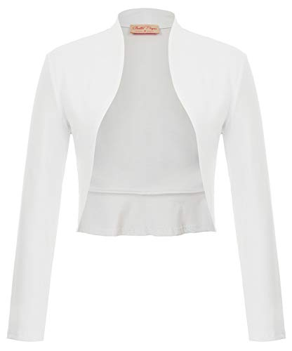 Belle Poque Women's White Shrug Bridal Bolero Cardigan for Evening Dress Open Front Jacket Coat (White,S)