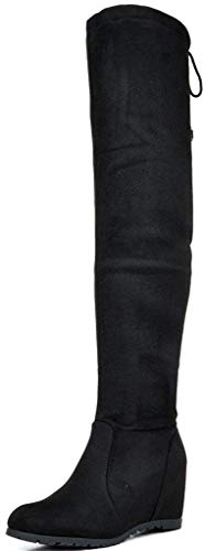 DREAM PAIRS Women's Leggy Black Faux Suede Over The Knee Thigh High Boots - 8.5 M US