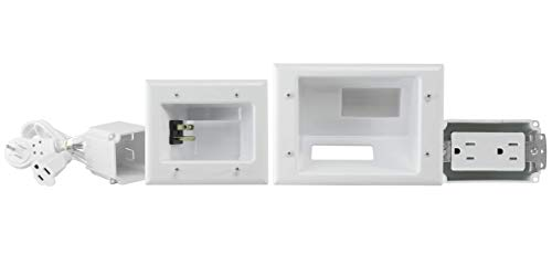 DATA COMM 45-0024-WH Recessed Pro-Power Kit with Duplex Receptacle and Straight Blade Inlet, White