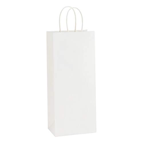 BagDream Kraft Paper Bags 5.25x3.25x13 Inches 50Pcs Wine Bags Paper Gift Bags Kraft Bags Retail Bags Party Bags White Paper Wine Bags with Handles Bulk