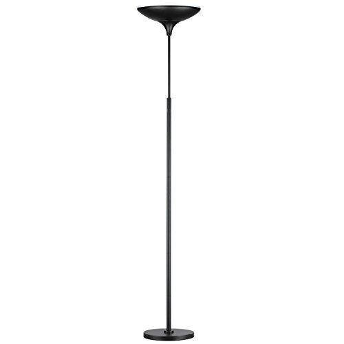 Globe Electric, 3000, White Satin, 1x Integrated Bulb, LED Floor Lamp Torchiere, Energy Star Certified, Dimmable, Super Bright, 43W, 3010 Lumens, Matte Black Finish 12784, 70.9'