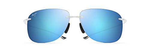 Maui Jim Hikina Rectangular Sunglasses, Crystal Matte/Blue Hawaii Polarized, Large