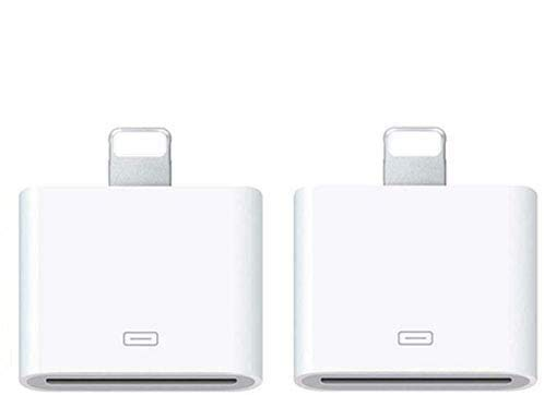 30 Pin Adapter | 8 Pin Male to 30 Pin Female | Works with Smartphones, Cars, Docking Stations and More White - 2pack