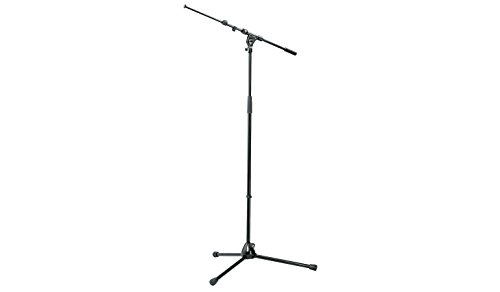 K&M Micorphone Stand with Telescopic Boom Arm is Sturdy, Zinc Die-Cast Tripod Base with Foldable Legs. Black 21090