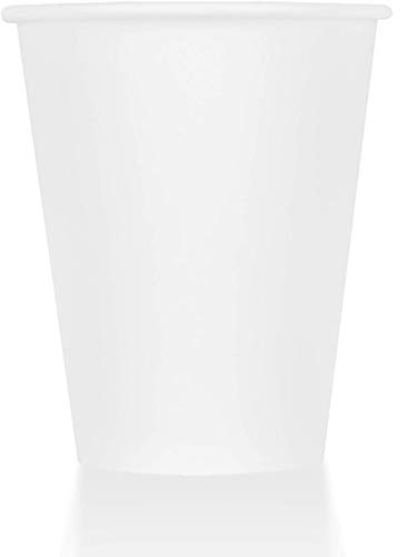 ZenCo Compostable Disposable Paper Cups - 100 Pack 8oz Hot/Cold Beverage Disposable Drinking Eco Friendly Cup White (100 Count, 8 Ounce)