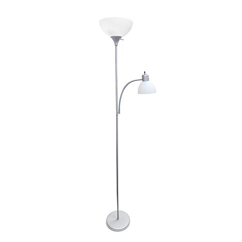 Simple Designs Home LF2000-SLV Simple Designs Floor Lamp with Reading Light, Silver