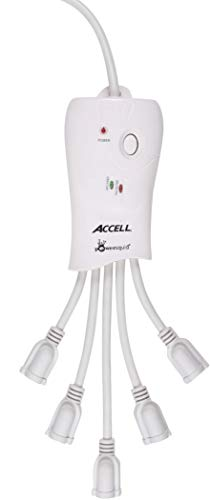 Accell Powersquid Flexible Surge Protector - 5 Outlets, 6-Foot Cord, 600 Joules, Etl Listed - White Grounded Extension Cord Power Strip