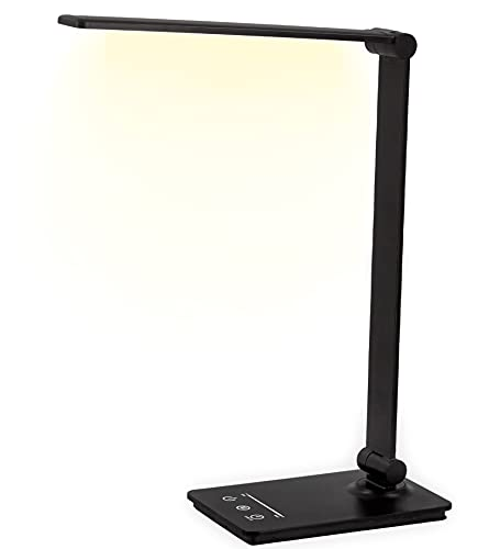 Led Desk Lamp, Eye-Caring Desk Light Office Table Lamp with USB Port, Dimmable Brightness Levels, 5 Color Modes, Touch Control, 30/60 Min Auto Timer, Memory Function, 7W, Desk Lamps for Home Office