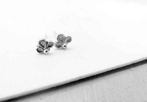 Tiny Silver Earrings, Dainty Flower Studs in Sterling Silver, Boho Post Earrings, Great also For Cartilage Piercings, Unique Handmade Designer Cute Jewelry for Girls and Women