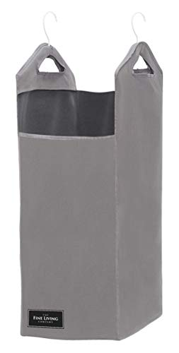 The Fine Living Company USA - Closet Hanging Laundry Hamper Bag - Space Saving Organizer Design in Grey - Included Strong Hangers - Open Top Design to Hold More Laundry Than Other Type Bags