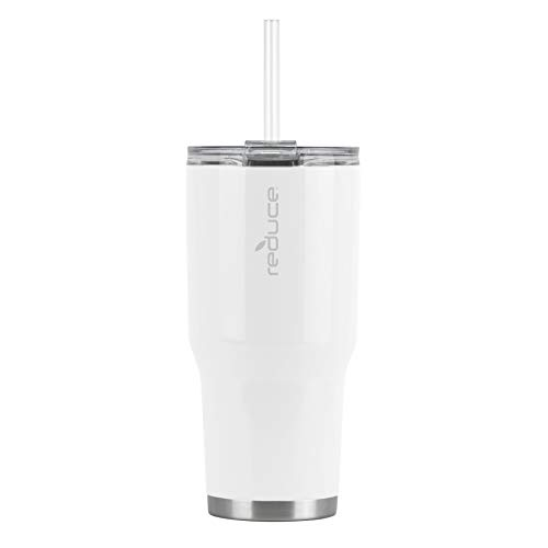 Reduce Tumbler, 30oz – Reduce Cold-1 Tumbler With Lid and Straw – 30 Hours Cold – Stainless Steel, Sweat-Proof Body – Cupholder Friendly, Perfect for Water and Coffee – White
