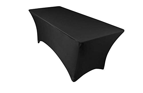6ft Tablecloth Rectangular Spandex Linen - Black Table Cloth Fitted Cover for 6 Foot Folding Table, Wedding Linens Banquet Cloths Rectangle Covers