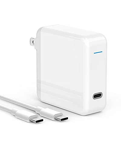 SZPOWER 61W USB C Charger Power Adapter Compatible with MacBook Pro 13, 15 inch, USBC New Air 13 inch 2020, 2019, 2018, 12 inch, Thunderbolt 3 Laptop Power Supply Type C, LED, 6.6ft USB C to C Cord
