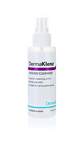DermaKlenz Skin Cleansing Wound Wash, 6 Pack - 4 oz. Spray Bottle – No Rinse Saline Solution, Zinc Infused, Latex and Detergent Free - Non-Irritating Antiseptic for Scrapes, Cuts, Scars, Piercings