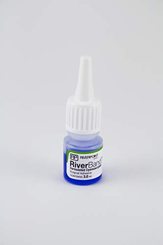 RiverBand Surgical Vet Skin Glue Tissue Wound Cut Closure Veterinary Adhesive 3ml Bottle w/ 12pc Sterile Tips Straws