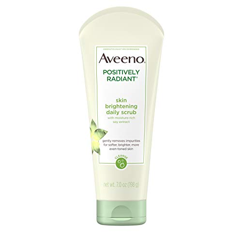 Aveeno Positively Radiant Skin Brightening Exfoliating Daily Facial Scrub With Moisture-rich Soy Extract, Jojoba & Castor Oils, Soap-free, Hypoallergenic & Non-comedogenic Face Cleanser, 7.0 Ounce