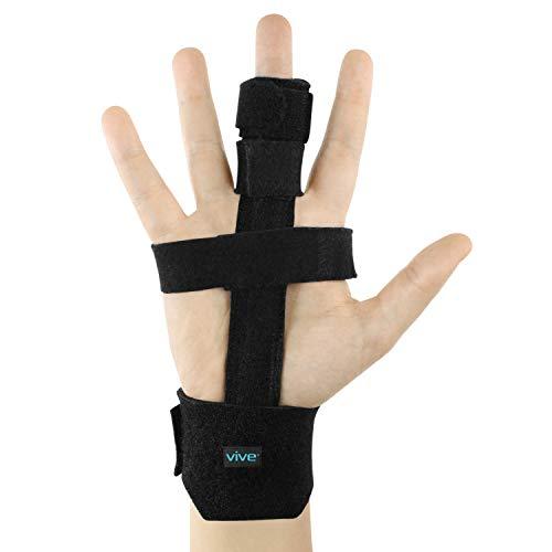 Vive Trigger Finger Splint - Full Hand and Wrist Brace Support - Adjustable Locking Straightener - Straightening Immobilizer Treatment For Sprains, Pain Relief, Mallet Injury, Arthritis, Tendonitis (Black)