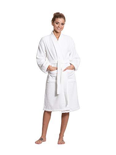Turkuoise Women's Terry Cloth Robe Turkish Cotton Terry Kimono Collar (Large/One Size, White)
