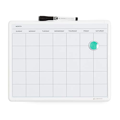 U Brands Contempo Magnetic Monthly Calendar Dry Erase Board, 11 x 14 Inches, White Frame, Magnet and Marker Included (260U00-04)
