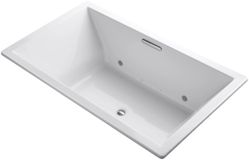 KOHLER 1174-GCW-0 Underscore 72-Inch x 42-Inch Drop-In BubbleMassage Air Bath with Bask Heated Surface, Chromatherapy, and Center Drain, White