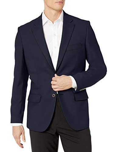 Amazon Essentials Men's Long-Sleeve Classic-fit Button-Front Stretch Blazer, Navy, 38
