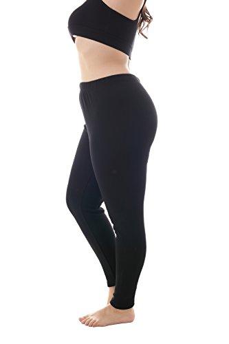 ZERDOCEAN Women's Plus Size 100% Cotton Fleece Lining Leggings Black 4X