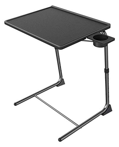 Adjustable TV Tray Table - TV Dinner Tray on Bed & Sofa, Comfortable Folding Table with 6 Height & 3 Tilt Angle Adjustments (Black)