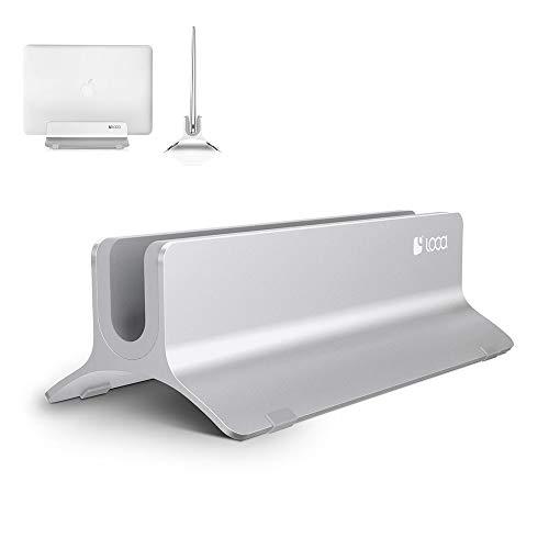 Vertical Laptop Stand, LOCA Aluminium Desktop Stand for Apple MacBook, notebooks (Silver)