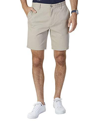 Nautica Men's Classic Fit Flat Front Stretch Solid Chino Deck Short, True Khaki, 38W