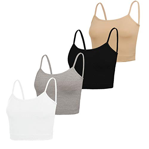 NEWITIN 4 Pack Spaghetti Strap Tank Top Adjustable Strap Tank Top for Women Girls, 4 Colors