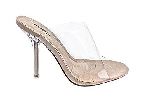 Cape Robbin Allure Women's Dressy Peep Toe Clear Transparent Strap Slip On Clear Heels - Nude,Nude,7