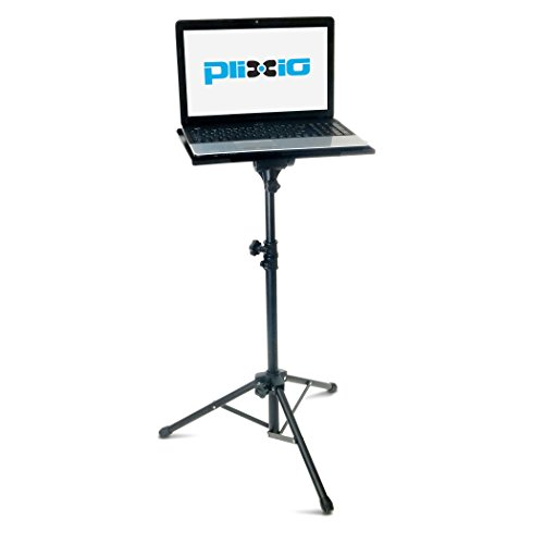 Plixio Adjustable Laptop Projector Stand - Portable Podium Tripod Mount, DJ Mixer Stand Up Desk Computer Stand Tray and Holder (27' to 48')