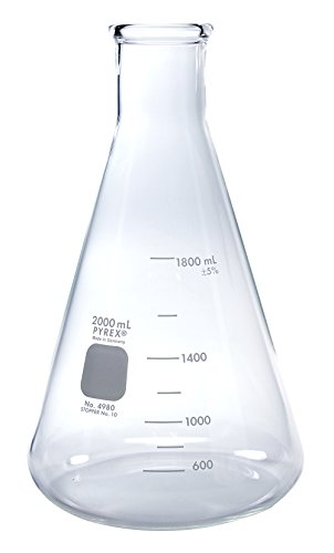 PYREX 2L Narrow Mouth Erlenmeyer Flasks with Heavy Duty Rim, 1/pk