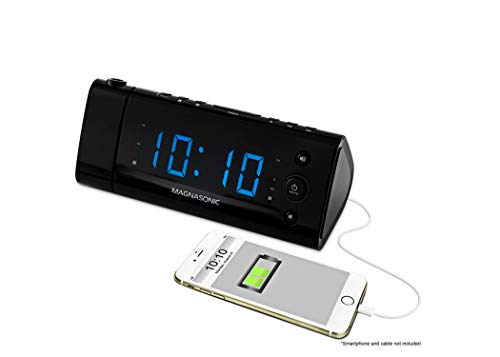 Magnasonic USB Charging Alarm Clock Radio with Time Projection, Battery Backup, Auto Time Set, Dual Alarm, 1.2' LED Display for Smartphones & Tablets (EAAC475)