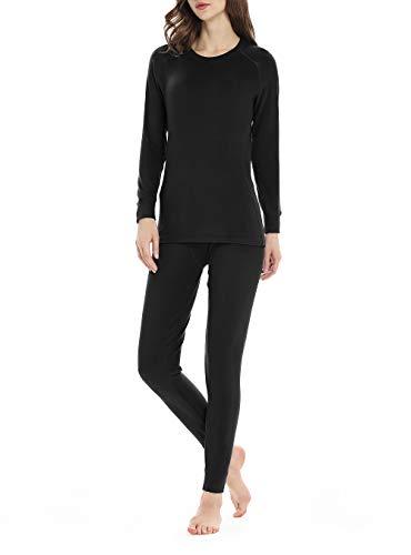 Thermal Underwear for Women, Fleece Lined Long Underwear Winter Base Layer Set Midweight Long John (Black, Medium