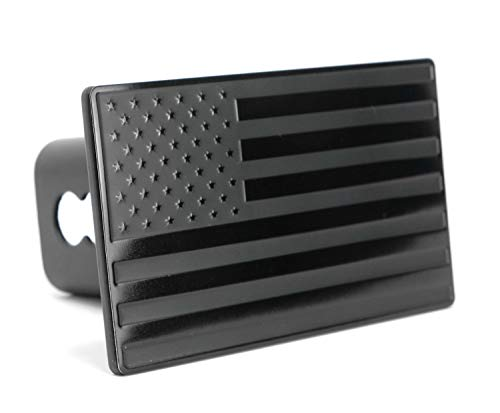 eVerHITCH USA US American Black Flag Stainless Steel Emblem on Metal Trailer Hitch Cover. Fits 2' Receivers, Black & Black