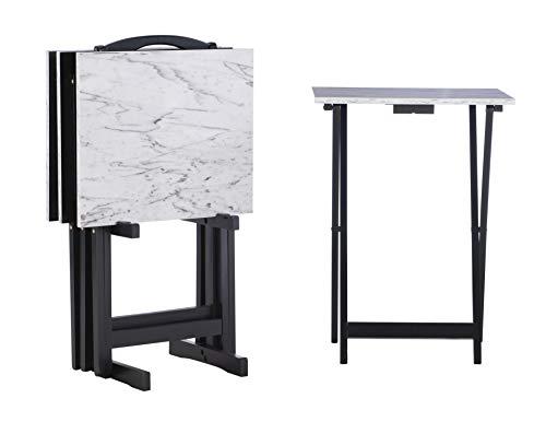 Linon Tray Table Set, 15.75'D x 18.9'W x 26.38'H, White