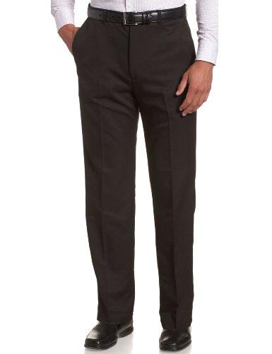 Haggar Men's Cool 18 Hidden Expandable-Waist Plain-Front Pant Black 38x29