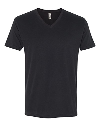 Next Level Apparel 6440 Mens Premium Fitted Sueded V-Neck Tee - Black44; Extra Large