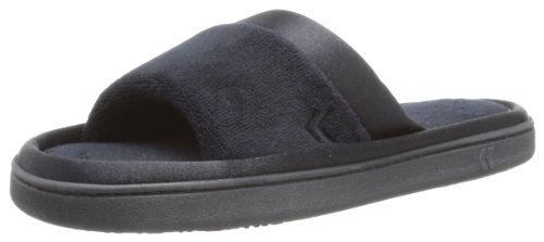 isotoner Women's Microterry Slide Slipper with Satin Trim, Black, 9.5/10