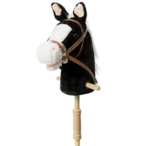 HollyHOME Outdoor Stick Horse with Wood Wheels Real Pony Neighing and Galloping Sounds Plush Toy Black 36 Inches(AA Batteries Required)