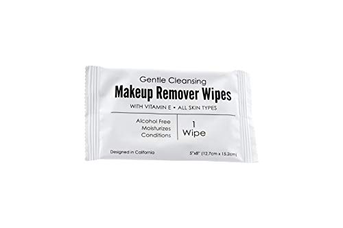 World Amenities - Bulk Makeup Remover Wipes | 50 Count | Individually Wrapped, Gentle Cleansing, Alcohol Free - All Skin Types - Vitamin E - 100% Recyclable, Hotel Travel Size Toiletries
