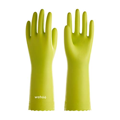 LANON Wahoo PVC Household Cleaning Gloves, Reusable Dishwashing Gloves with Cotton Flocked Liner, Waterproof, Non-Slip, Large
